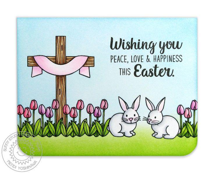 Sunny Studio Stamps: Easter Wishes Bunnies & Tulips Card by Mendi Yoshikawa