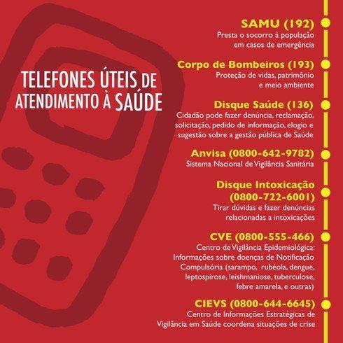 Foto: Telefones úteis de atendimento à saúde. SAMU (192) Disque Saúde (136) Corpo de Bombeiros (193)  Anvisa (0800-642-9782) Disque Intoxicação (0800-722-6001) CIEVS - Centro de Informações Estratégicas de Vigilância em Saúde (0800-644-6645) CVE - Centro de Vigilância Epidemiológica (0800-555-466)