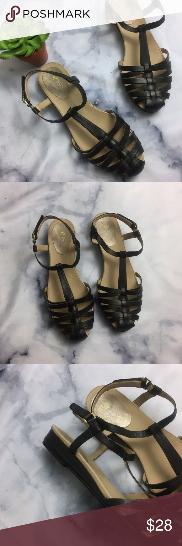 Easy Spirit e360 Black Leather Closed Toe Sandal Easy Spirit. Size 8.5. e360. Danette sandal. Black leather. Straps. T strap. Round toe. Buckle closure. Preowned. Easy Spirit Shoes Sandals