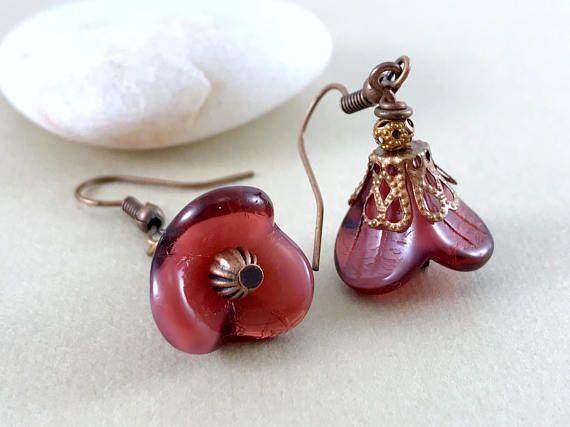 Red Flower Earrings Bohemian Earrings Copper Earrings Czech