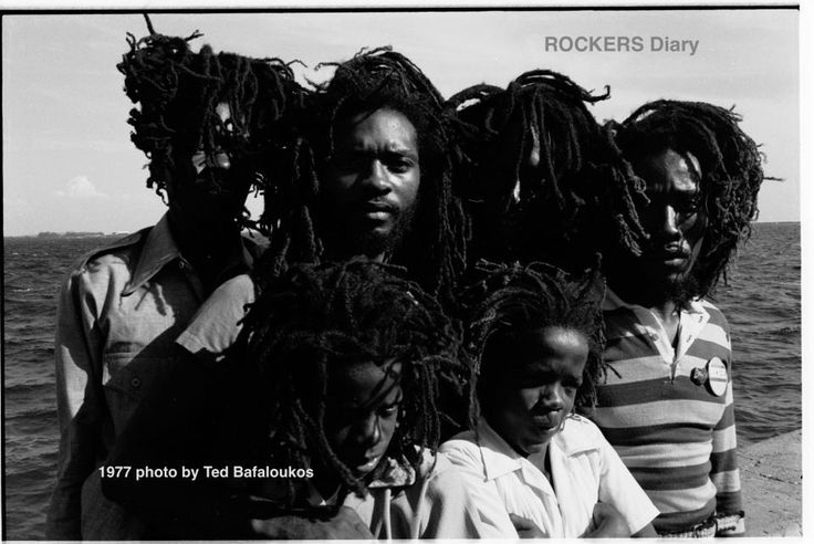 DREADY, KINGSTON HARBOUR, 1977. PHOTO BY TED BAFALOUKOS. THE YOUTHS ARE RUFFY AND TUFFY