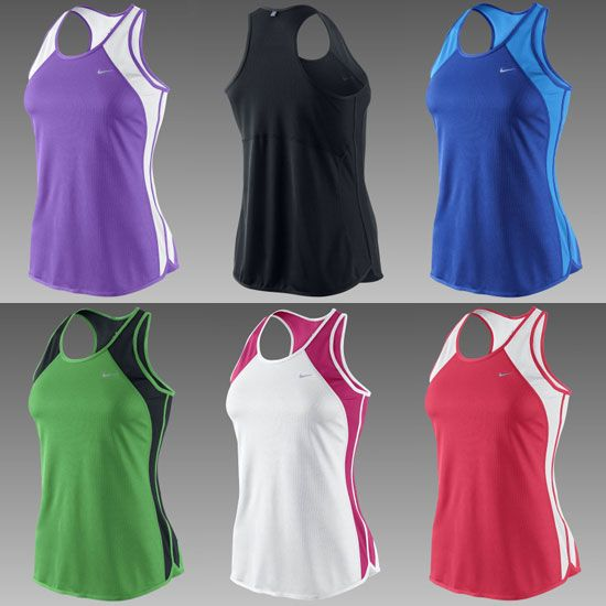 Nike Fast Pace Women's Running Tank Tops. I absolutely LOVE these tops for summer running. My hands-down favorite running singlet, ever. The material is light-weight with flat seams to prevent chafing, and the length is perfect. Great colors too.