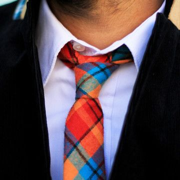 Red Plaid Skinny Tie  by Pocket Square Clothing
