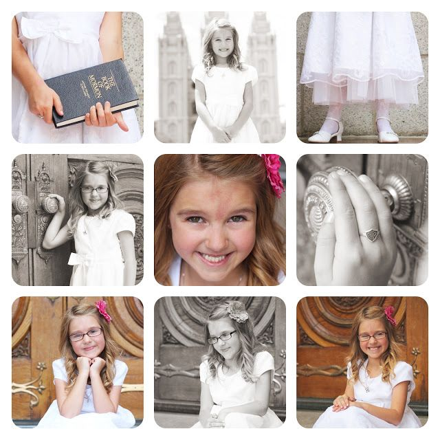 8 year old LDS baptism photo shoot at Salt Lake City temple. Leslie Marsh Photography.