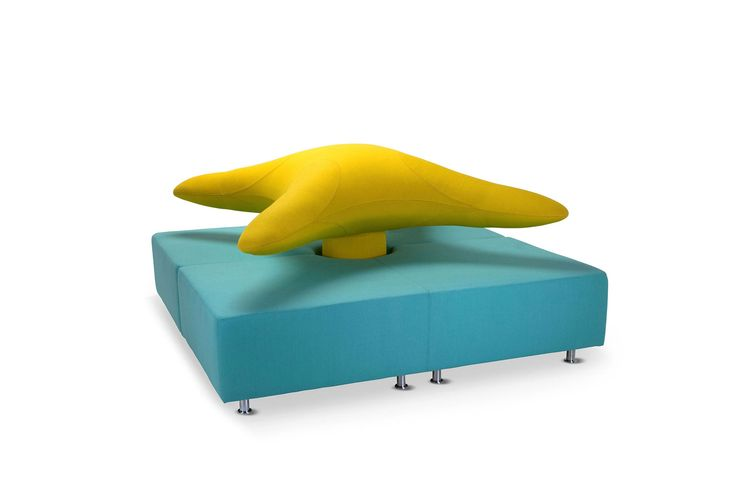 Ella Sculpture by Adrenalina.  Centrepiece, bright-coloured sofa, made out of flamboyant blue and yellow fabric. Ultramodern and funny.  Very reliable materials.  My Italian Living