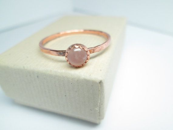 Rose Quartz Copper Ring Pink Copper Ring Rose Quartz by palilicium #jewellery #jewelry #ring #etsy #rings #copper #copper rings #copper ring #rose quartz #rose quartz ring #copper jewellery #copper jewelry #gemstone #gemstones #fashion #jewels #gems #metalwork #hand-forged #handforged #palilicium
