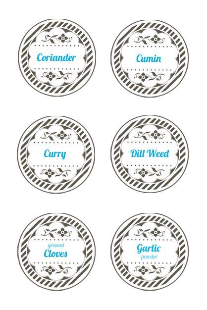 spice jar lid labels  mason jar label templates