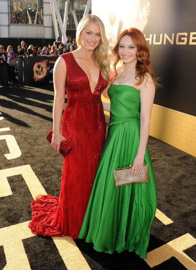 """Leven Rambin and Jacqueline Emerson arrive at the world premiere of """"The Hunger Games"""" in Los Angeles, California."""