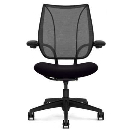 Humanscale Liberty task chair - Front view - Adjustable arms - Black frame and mesh FREE Shipping in Canada at Ugoburo.ca!