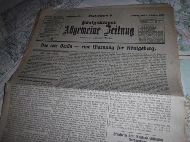 Königsberger Allgemeine Zeitung von 1927 Königsberg Ostpreußen