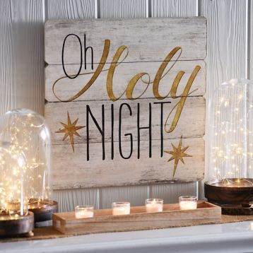 Oh Holy Night Wood Plank Plaque | Kirklands