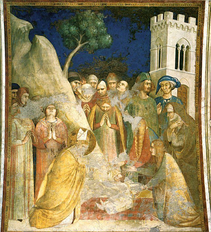 """Abbiamo completato il ciclo pittorico (attribuito a Simone Martini) della vita di San Martino, sito nell'omonima cappella della Basilica inferiore di San Francesco d'Assisi. Chi volesse consultare in sequenza le opere (in tutto 10), all'interno dell'album """"La pittura del Trecento"""", può partire dal link https://picasaweb.google.com/lh/photo/by67VSCEV2dvQ2iQdcguSNMTjNZETYmyPJy0liipFm0?feat=directlink. Nella foto: Il miracolo del fanciullo resuscitato"""