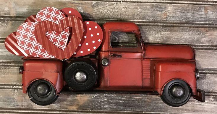 Little Red Truck Decor, Valentines Vintage Truck Decor, Little Red Truck Sign, Vintage Red Truck Decor, Farmhouse Truck Decor, Vintage Truck