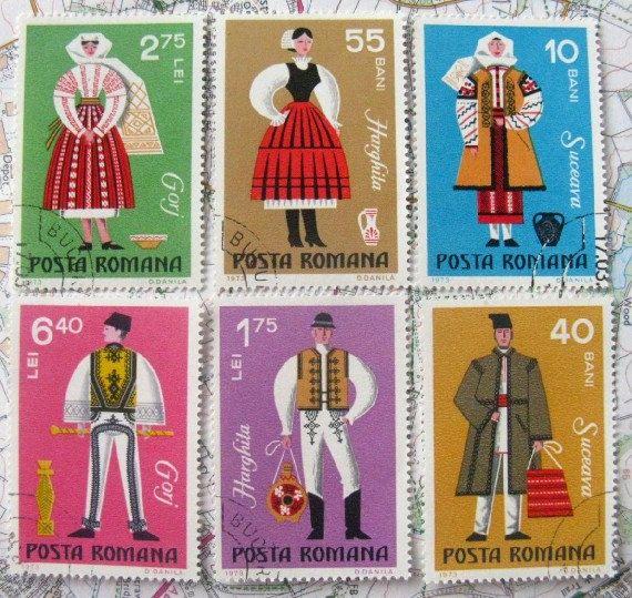 Romanian folk costume stamps