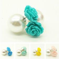 Celebrity Fashion Women Double Ball Beads Pearl flower Balls Earrings Studs Ear