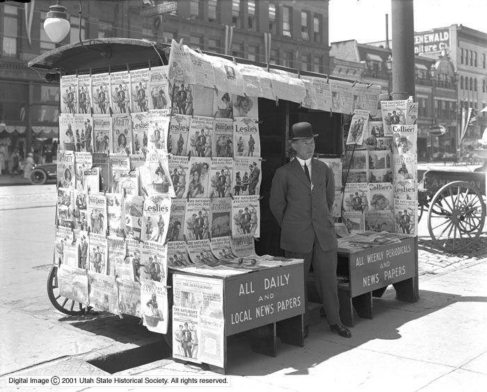 News Wagon at 300 South and Main, Salt Lake City, Utah, 1915. (Photo credit: Harry Shipler / Utah State Historical Society)