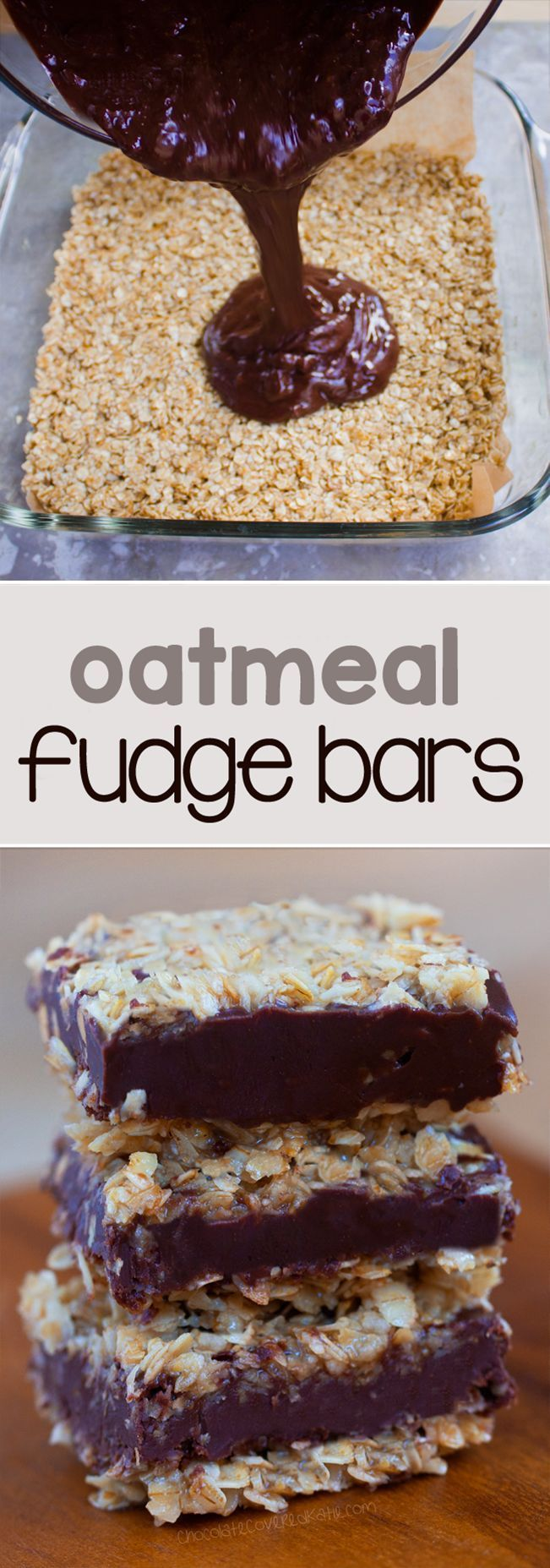 Oatmeal Fudge Bars - These gooey fudge bars are ADDICTIVE!!! ... Trust me, you should bookmark this recipe... I made two trays, and both were gone within an hour! ... /choccoveredkt/ http://chocolatecoveredkatie.com/2016/02/08/oatmeal-chocolate-fudge-bars/