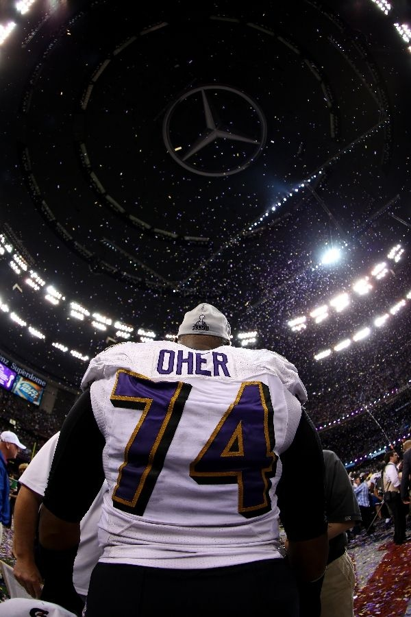 purple authentic jersey sale new orleans la february michael oher of the baltimore ravens celebrates
