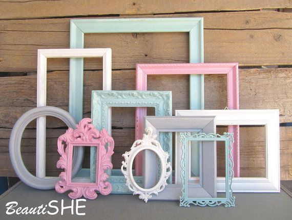Mint Pink Grey Heirloom White Frame Set Custom Nursery Frames Open or Frames with GLASS You Choose Frame Collection Mint Gray Cream