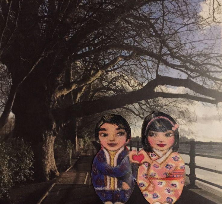 "JOYJOart+design on Twitter: ""Mei &a Kenji take a walk along Thames Path #travel #london #kokeshi #joinheartsfordiversity https://t.co/86PDLkEMkI"""