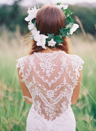 Lace back & flower crown