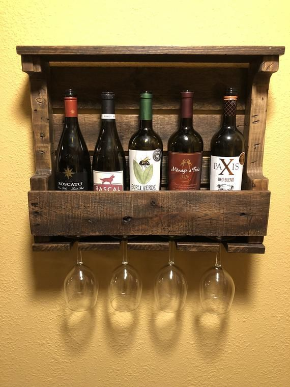 Rustic Reclaimed Wood Wine Rack And Wine Glass Holder In 2020