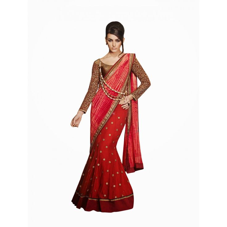 Red Georgette Party Wear Lehenga #Saree With Blouse- $108.27