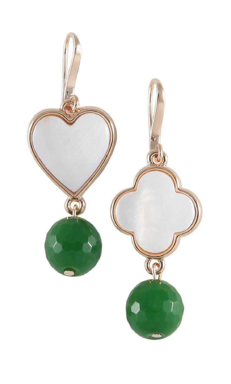 Lucky Clove & Heart Earrings - AVENTURTINE Luck & Love #designerearrings #designerjewellery #designerjewelry #jewellery #earrings #Duchess #fashion #designerfashion