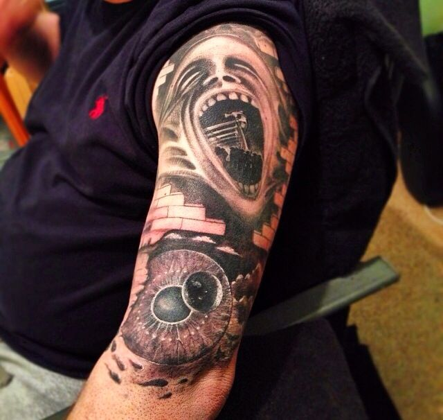 Pink floyd the wall tattoo sleeve images galleries with a bite for Wall e tattoo