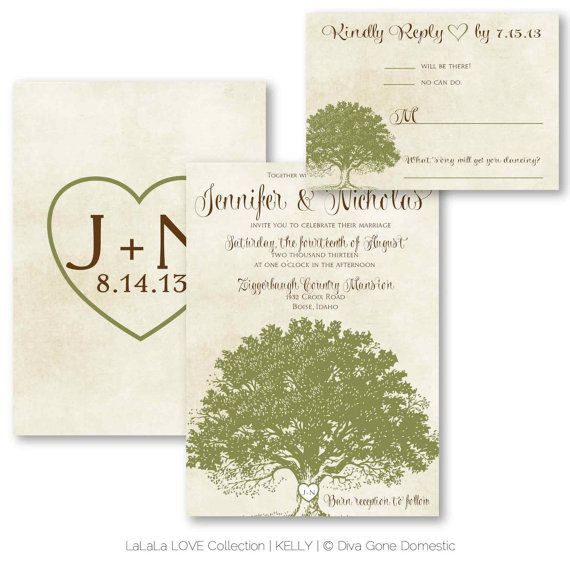 Printable digital rustic woodland tree wedding invitation for Free printable tree wedding invitations