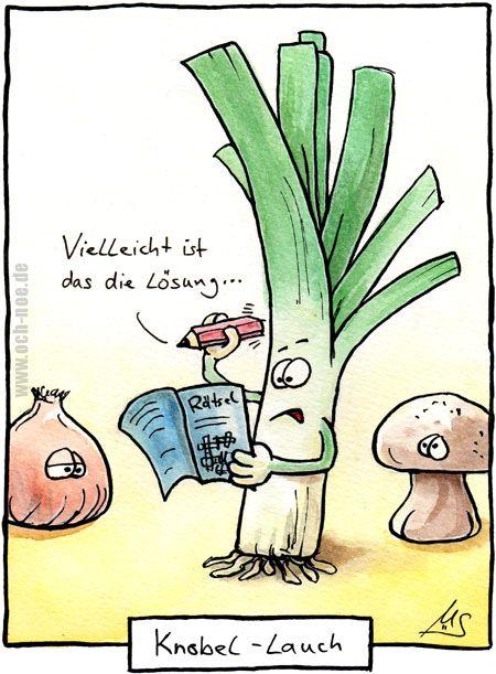 Knobel-Lauch, das stinkt der Zwiebel und dem Pilz ;-) www.och-noe.de - Cartoons