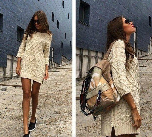 Вязаный длинный свитер