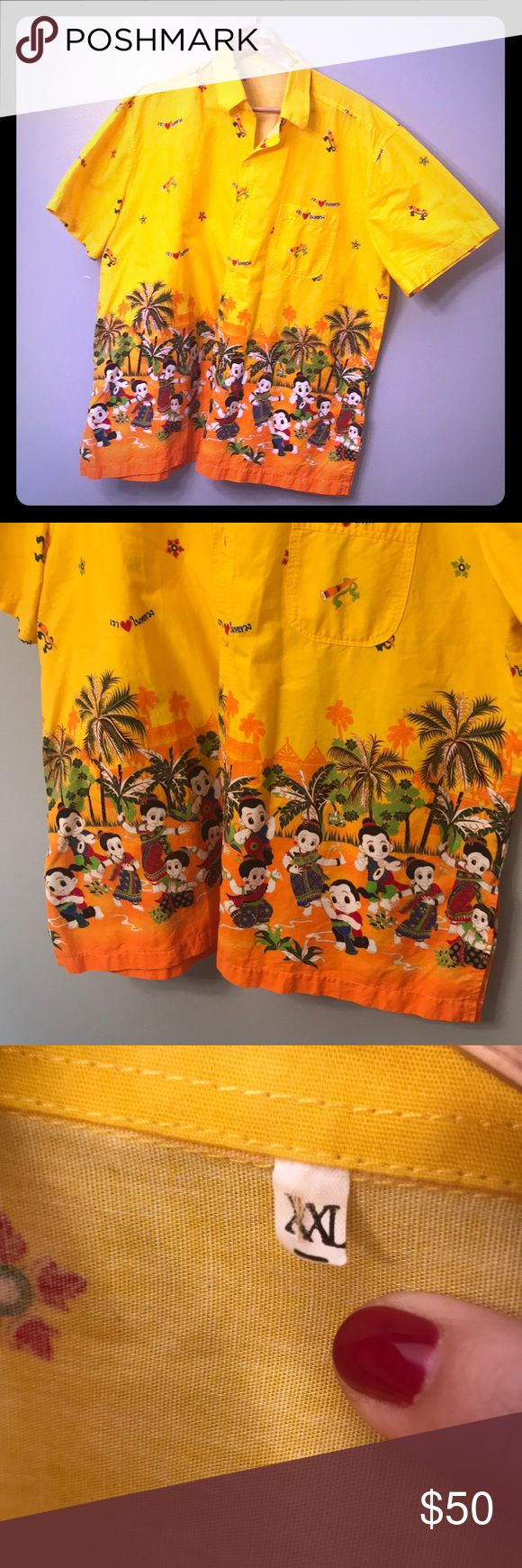 XXL yellow men's casual style funky tropical shirt See photos for details and measurements (#2208) Great for frat party 🎉 XXL Shirts Casual Button Down Shirts