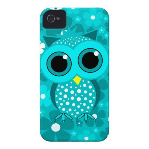 Turquoise flowers cute owl iPhone 4 cover for girls