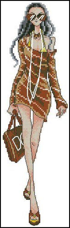 point de croix fille moderne en mini robe - cross-stitch modern girl in mini dress