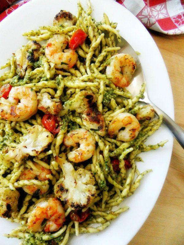 Trofie pasta with Grilled Shrimp, Cauliflower, and Pesto | Proud Italian Cook