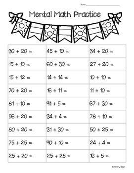 Alge Mental Math Worksheet on