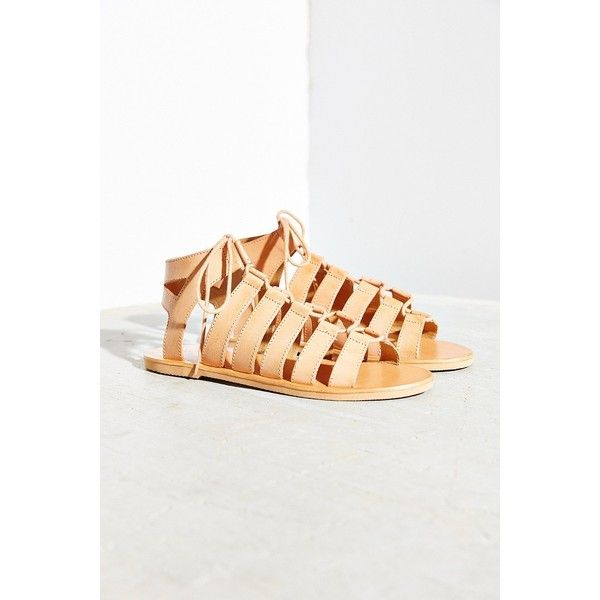 Ecote Kimi Lace-Up Sandal ($49) ❤ liked on Polyvore featuring shoes, sandals, neutral, boho chic shoes, laced shoes, lace-up sandals, tie shoes and laced sandals