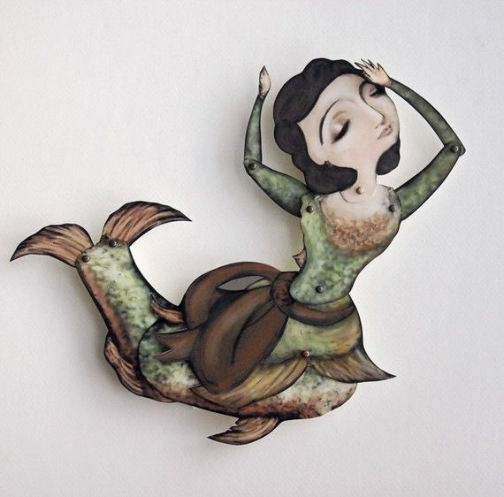 Lady Fish Paper Puppet Mermaid Doll by crankbunny on Etsy, $20.00