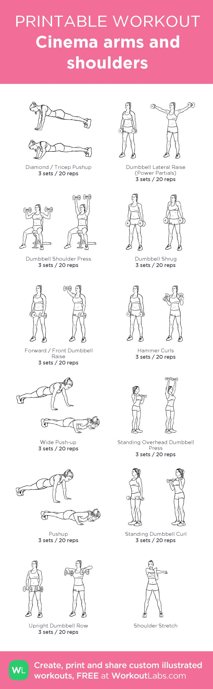 Cinema arms and shoulders:my custom printable workout by @WorkoutLabs #workoutlabs #customworkout