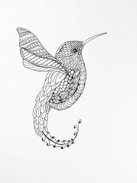 Zentangle Hummingbird, Wall Art, Hummingbird drawing, Hummingbird illustration…