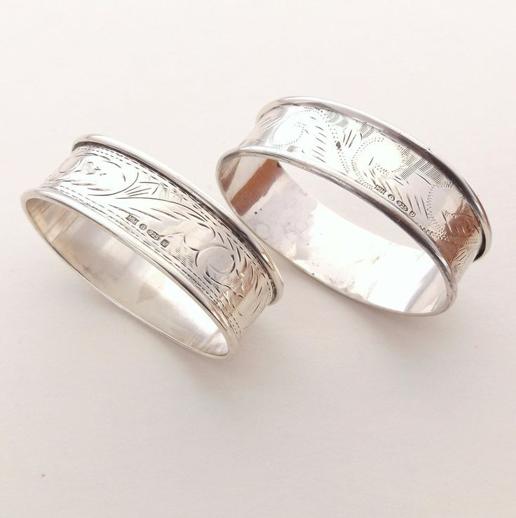 Pair Of Silver Napkin Rings, Engraved, Hallmarked Sterling Silver by DaisysCabinet on Etsy