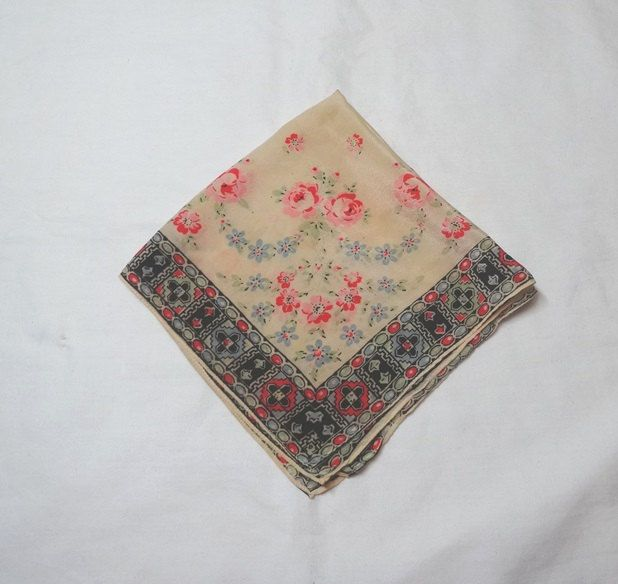 1940s Vintage Lady's Silk Handkerchief with Pink & Red Roses, Abstract Border, 12.5 In. Square, Vintage Handkerchief, Lady's Purse Accessory by VictorianWardrobe on Etsy