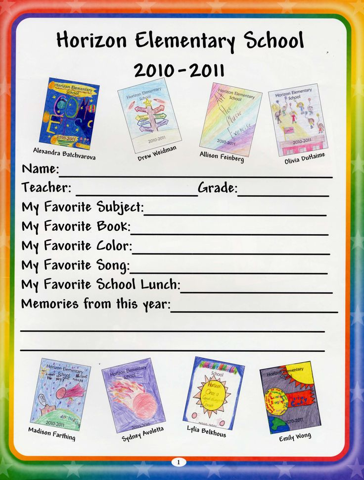 Fill in the blank elementary yearbook ideas - and use student artwork??