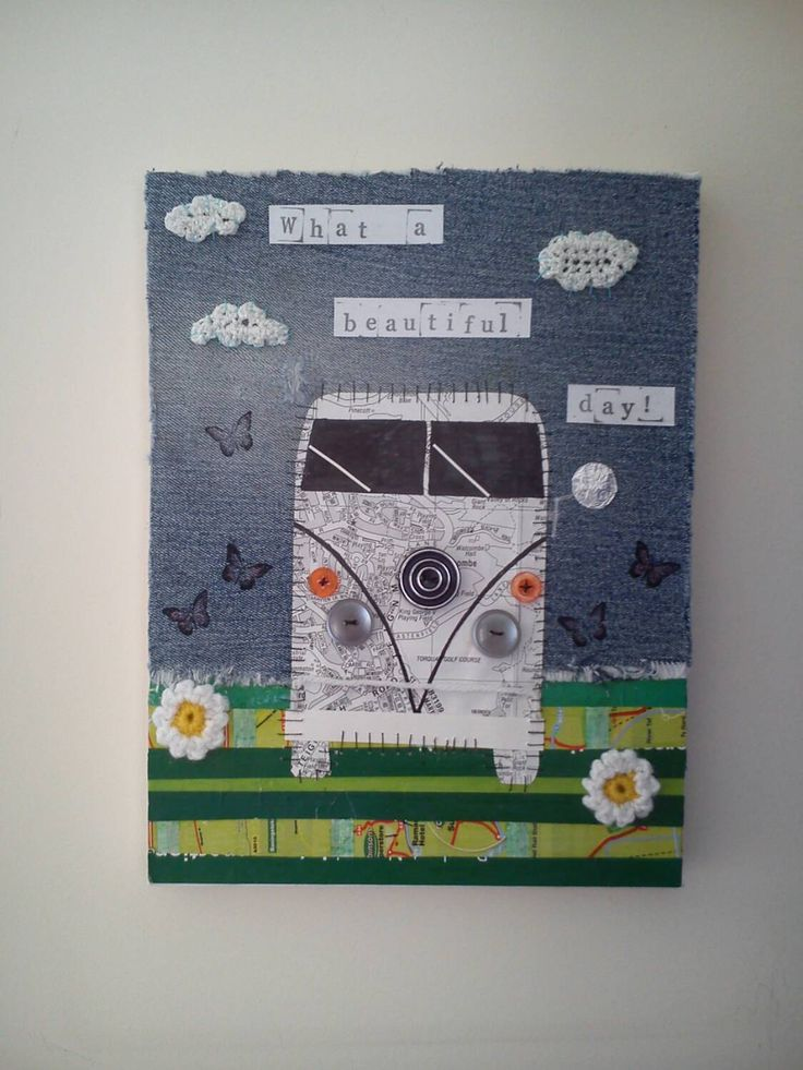 Campervan Beautiful Day Upcycled Crochet, Paper, Denim, Buttons Mixed Media Canvas Art by MadebyMessymuppet on Etsy