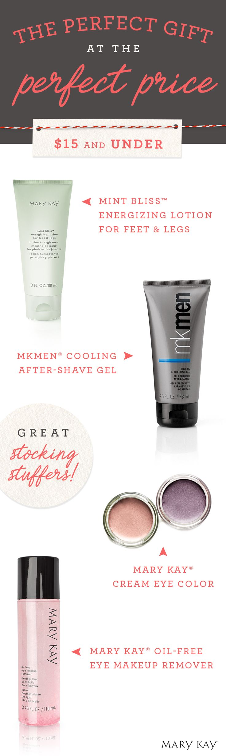 Share the holiday cheer with stocking stuffers and pampering gifts for under $15 that everyone on your list will love!   Mary Kay