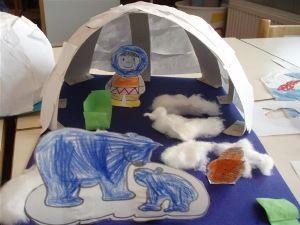 * Iglo van stoken en daaroverheen papier geplakt. Afmaken met ijsberen en eskimo.