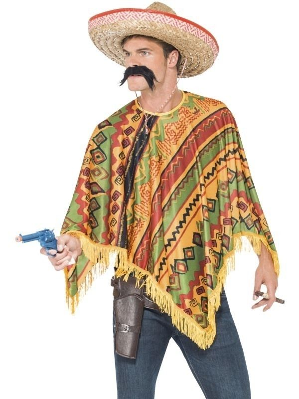 Mexicaanse poncho set  Poncho set Mexico Kleur: multicolor Materiaal: polyester Inhoud: poncho en snor Maat: one size Thema: poncho mexico mexicaanse goedkope ponchos mexicaan themakleding carnavalskleding themafeest art.nr. smi43904  EUR 12.99  Meer informatie