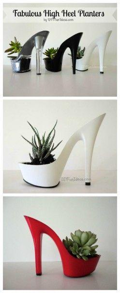 MAKE THESE SUPER FUN HIGH HEEL PLANTERS #diy #planters #dan330 http://livedan330.com/2014/11/15/make-super-fun-high-heel-planters/