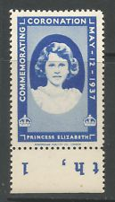 GB/UK 1937 GVI Coronation poster stamp/label (Princess Elizabeth)